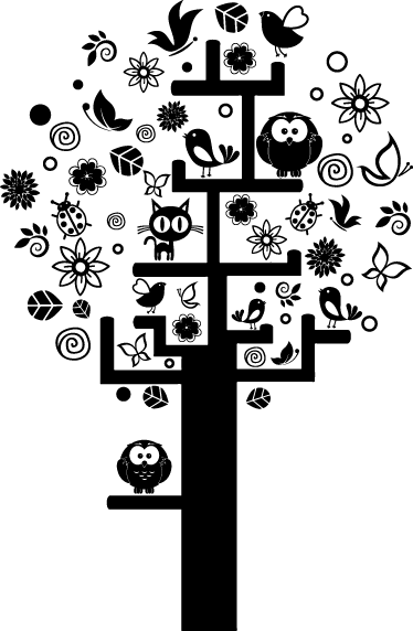 TenStickers. Populated Tree Sticker. Children's sticker of a beautiful tree full of flowers, leaves, butterflies, birds, owls and even a cat.