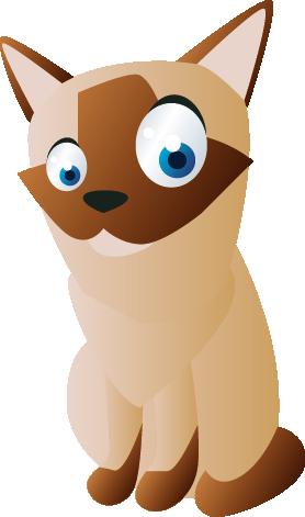 TenStickers. Nalepka za stene za otroke siamske mačke. Otroške stenske nalepke; zabavna in igriva ponazoritev siamske mačke z velikimi očmi. Idealno za otroške postelje in igralne prostore.