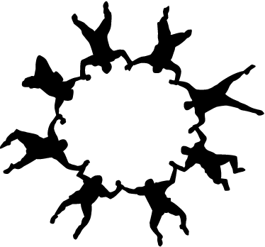 TENSTICKERS. サークルダイバーのステッカー. 自由落下しながら空中で円形の図を実行するいくつかの落下傘兵のシルエットのステッカー。