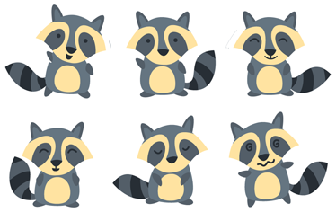 TenStickers. Kids Raccoon With Expressions Sticker. Children's sticker with six figures of one of their favourite animals pulling different expressions.