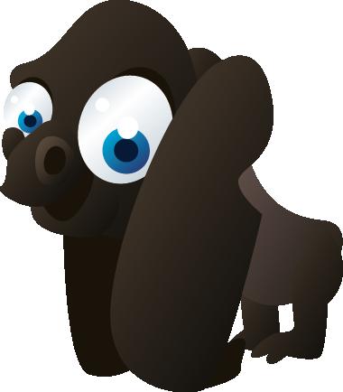TENSTICKERS. キッズゴリラ壁ステッカー. 子供の壁のステッカー-大きな目でゴリラの楽しくて遊び心のあるイラスト。さまざまなサイズで利用できます。