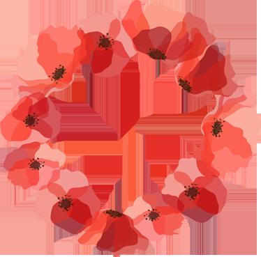 TenVinilo. Vinilo decorativo corona de amapolas. Adhesivos florales con una serie de pétalos rojos entrelazados creando una forma circular.