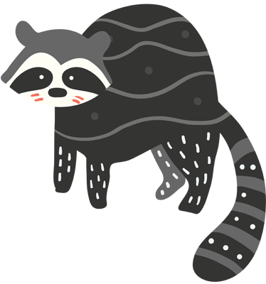 TenStickers. Raccoon Illustration Sticker. Children's sticker with an original drawing of their favourite woodland animal.