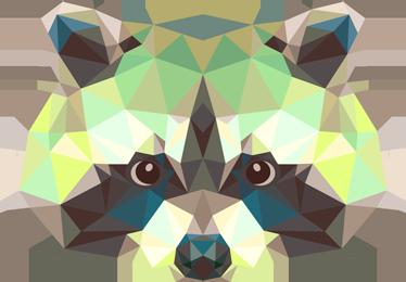 TenStickers. Geometrische wasbeer muursticker. Deze originele tekening van een wasbeer kan nu super mooi staan op jouw muur! Deze muursticker is makkelijk aan te brengen.