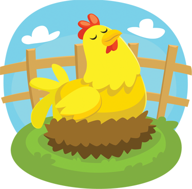 TenStickers. Laying Hen Sticker. Farm animal sticker for young children of a mother hen laying on her nest.