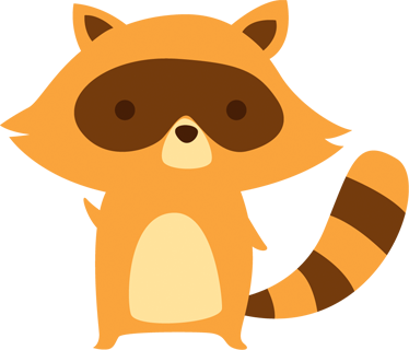 TenStickers. Yellow Raccoon Kids Sticker. Sticker for children with a fun illustration of one of their favourite wild animals.