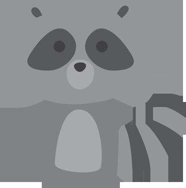 TenVinilo. Vinilo infantil mapache gris. Pegatinas infantiles de un pequeño mapache muy divertido en tonalidades grises.