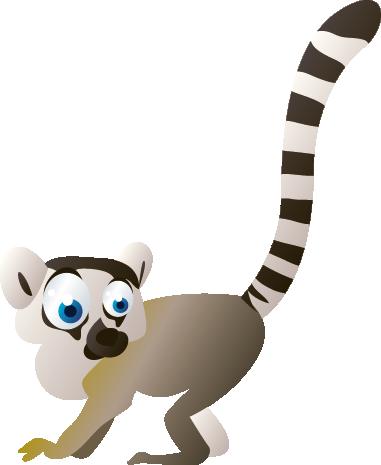 TenVinilo. Vinilo lemur. Adhesivo con imagen de un lemur de color gris con una larga cola blanquinegra levantada y unos grandes ojos azules mirando a su alrededor.