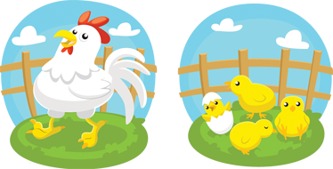 TenStickers. Adesivo infantil com galinha e pintaínhos. Adesivo vinilico para quarto infantil com divertidas ilustrações da vida animal na quinta que os seus filhos vão adorar!