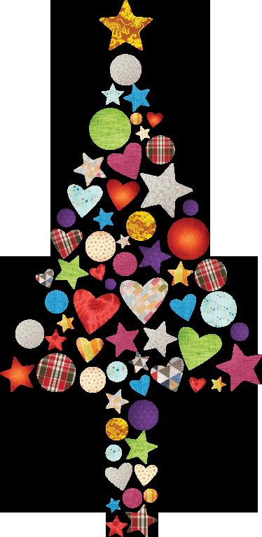TenStickers. Patchwork albero di Natale. Adesivo decorativo che raffigura un albero di Natale stilizzato composto da cuori, cerchi e stelle di varie dimensioni, forme e colori.