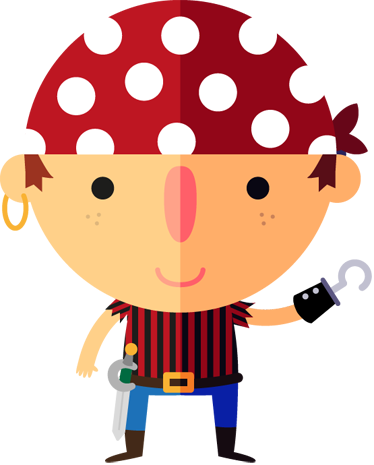 TenStickers. Pirate Boy Kids Sticker. A fantastic design for children from our collection of pirate wall stickers. Ideal for those who like pirate adventures and treasure hunting.