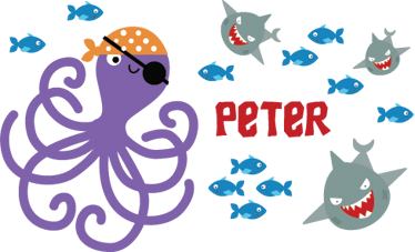 TenStickers. Octopus Pirate Personalised Name Sticker.  Sea life wall stickers for kids - Personalised sticker so your child´s name is under the ocean too! Part of our collection of pirate wall stickers.