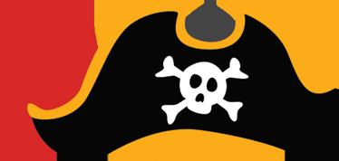 TenStickers. Adesivo infantil chapéu pirata. Adesivo decorativo para parede alusivo aos piratas com um desenho de um chapéu em que aparece a típica caveira. Vinis com proteção anti bolhas.