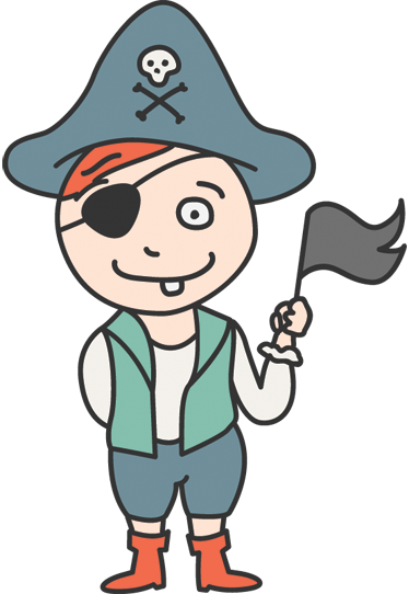 TenStickers. Young Pirate Wall Sticker. A decorative vinyl of a children with a pirate costume, this design from our pirate wall stickers are perfect for the little ones at home.