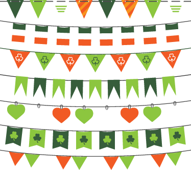 TenStickers. Saint Patrick's Day Bunting Sticker. A superb Saint Patrick's Day design from our collection of bunting wall stickers to celebrate in style! Decorate your home!