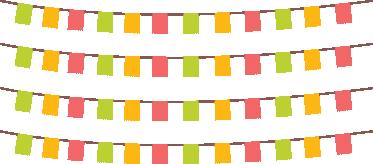 TenStickers. Sierlijke Slinger Decoratiesticker. Deze feestelijke muursticker omvat vier kleurrijke slingers en is vooral leuk voor kinderen. Afmetingen aanpasbaar. Ook voor ramen en auto's.