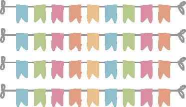 TENSTICKERS. ホオジロバナー子供ステッカー. お子様の寝室またはプレイエリアを飾る4つの旗布バナーのセット。バンティングウォールステッカーのコレクションからデザイン。