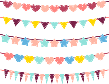 TenStickers. Bunting Banners Decal Set. A set of bunting banners from our collection of bunting wall stickers that are perfect to decorate your children's bedroom!