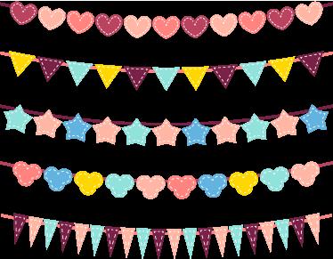 TenStickers. Gezellige Slinger Muursticker Kinderkamer. Decoratie sticker die vijf slingers omvat met verschillende vormen. Verkrijgbaar in verschillende afmetingen. +10.000 tevreden klanten.