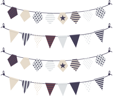 TenStickers. Elegant Bunting Decal Banners. A marvellous elegant bunting decal from our collection of bunting wall stickers to decorate any space at home or work.