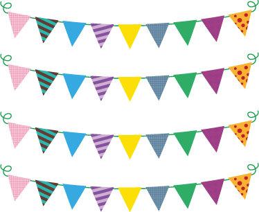 TenStickers. Bunting Flags Sticker. Bunting flag stickers, designed for decorating nurseries and children's birthday parties.