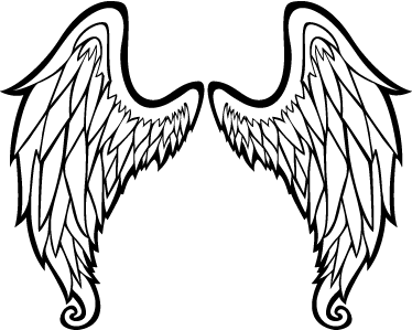 TenStickers. Outline of Angel Wings Wall Art Sticker. An outline illustration of two symmetrical wings ideal for any room in your house. A design from our collection of angel wings wall art stickers.