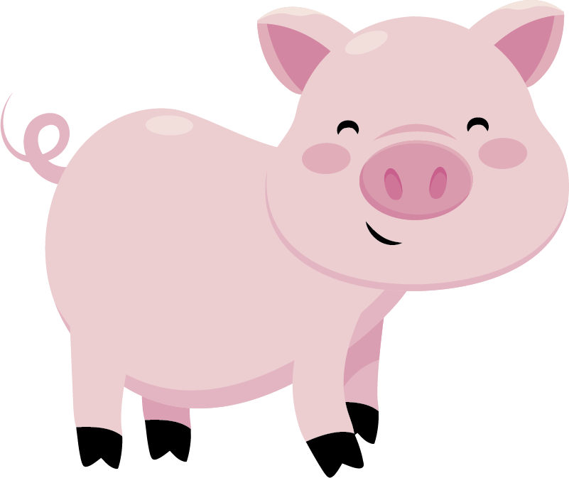 TenStickers. Sticker enfant animal cochon. Stickers pour enfant illustrant un cochon aux grands yeux bleus. Super idée déco pour la chambre d'enfant et tout autre espace de jeux.