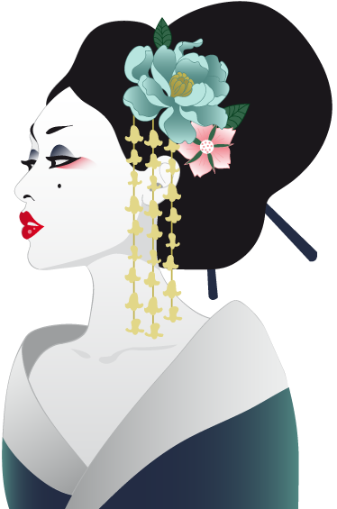 TenStickers. Japanese Geisha Wall Sticker. A detailed illustration of a young Japanese traditional dress. Brilliant geisha decal from our collection Japanese wall stickers.