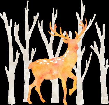 TenStickers. Naklejka jeleń w lesie. Naklejka dekoracyjna w skandynawskim stylu! Wzór na ścianę przedstawia pomarańczowego jelenia na tle zimowych, szarych pustych drzew.