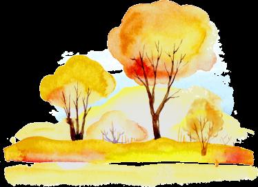 TenStickers. Muursticker Herfstbos. Kleurrijk muursticker van een bos in de herfstperiode in aquarel stijl. Verkrijgbaar in verschillende afmetingen. Dagelijkse kortingen.