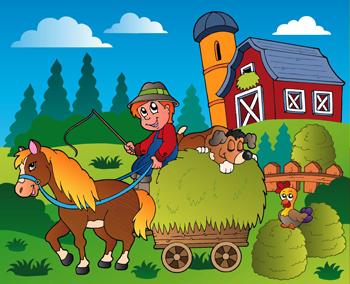 TENSTICKERS. 農家イラスト子供ステッカー. 馬車に乗った農夫と彼を前に引っ張る馬を示す子供たちのステッカー。子供部屋や遊び場のための素晴らしい装飾ステッカー。