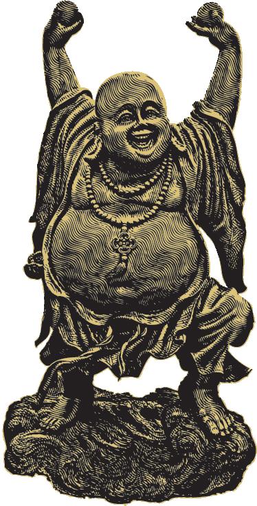 TenVinilo. Vinilo decorativo escultura Buda contento. Vinilos de Buda con la representación de una escultura divertida de este místico personaje.