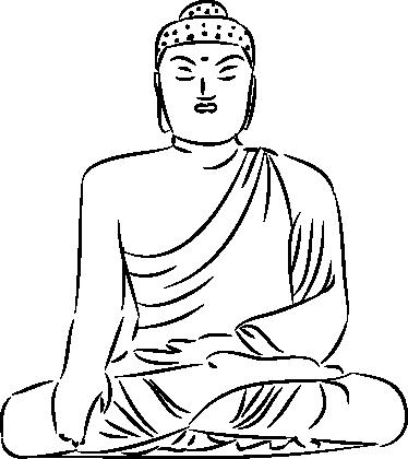 tekening mediterende boeddha sticker - tenstickers