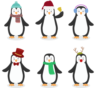 TenStickers. Pinguin Sticker. Dekorative Pinguin Sticker für Kinder. Dekorieren Sie Kinderzimmer, Kindergärten und Kindertagesstätten mit diesen süßen und winterlichen Pinguinen.