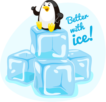 TenStickers. Better with Ice Penguin Sticker. A creative decal illustrating a baby penguin with the text 'Better with ice' from our collection of penguin wall stickers.