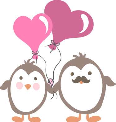 TenStickers. Penguins with Love Balloons Kids Sticker. A happy illustration of two penguins from our collection of penguin wall stickers to decorate the bedroom or play area of the little ones.