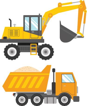 TenStickers. Kids Tipper and Digger Wall Sticker. A great set of stickers illustrating a tipper and a digger! Brilliant design from our collection of digger wall stickers.