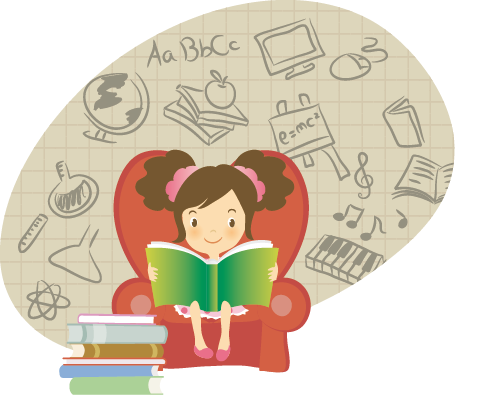 TenStickers. Reading Girl Wall Sticker. Kids Stickers - illustration of a girl deep into her reading session. Ideal for bedrooms and quiet reading areas for kids.
