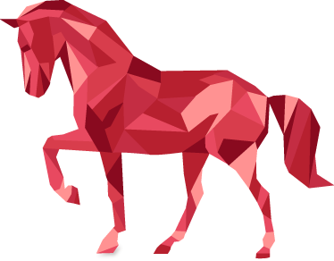 TenStickers. Wall Sticker Cavallo Origami. Wall sticker decorativo che raffigura un cavallo color rosso realizzato con la tecnica degli origami.