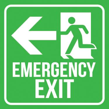 TenStickers. Emergency Exit skilt Sticker. En fantastisk nødudgang wallsticker til at placere i enhver bygning for at sikre, at alle ved hvor nødudgangen er, i tilfælde af en brand.