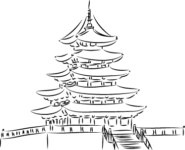TenStickers. Pagoda Tower Sticker. Wall decal with a detailed drawing of a Pagoda; a traditional Japanese style of building.
