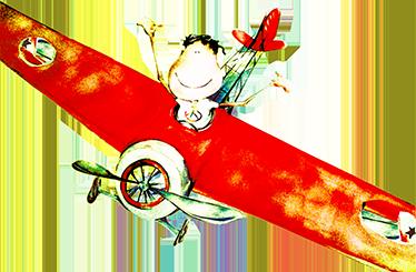 TenStickers. Kinderen jongetje in vliegtuig sticker. Alweer een superleuk en exclusief design van de ontwerper Lol Mahone speciaal gemaakt voor Tenstickers! Je ziet een jongetje in een grote ouderwetste vliegtuig vliegen!