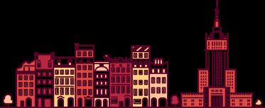 TenStickers. Naklejka różowa Warszawa. Naklejka dekoracyjna na ścianę przedstawiająca widok na Warszawę z charakterystycznym Pałacem Kultury i Nauki.