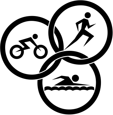 TenStickers. Triathlon Icons Sports Sticker. A creative design illustrating three sport icons. This triathlon sports sticker is ideal to decorate environments where sports are practiced.