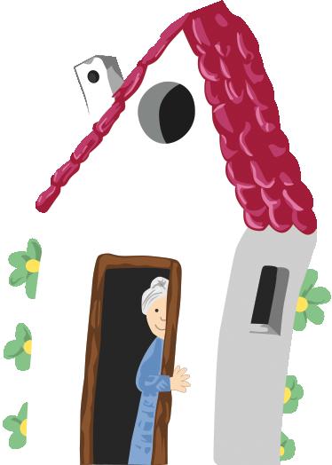 TENSTICKERS. おばあちゃんの家の壁のステッカー. おばあちゃんの家を描いた創造的なデカール!子供の寝室やプレイルームを飾るためのカラフルな壁ステッカー。