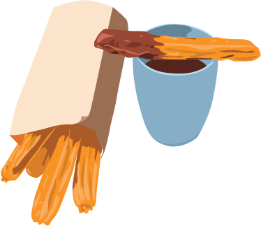 TenStickers. Sticker churros chocolat. Vinilo de comida con tu desayuno favorito de siempre: un apetitoso chocolate con churros.