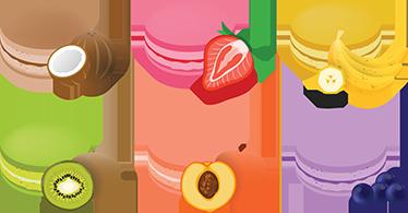 TenStickers. Macarrons fruit smaak sticker. Beplak deze heerlijk macarron stickers in jouw keuken of bakkerij en breng meer kleur op demuren, kasten, ramen of waar jij het wilt!