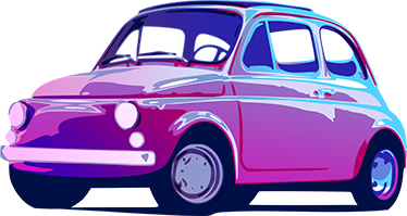 TenStickers. Retro Fiat 500 Sticker. Amazing design of an old Fiat 500 in vivid neon colours to decorate the walls of your home.