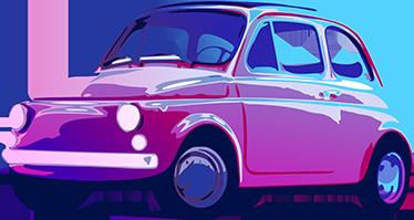 TenVinilo. Vinilo decorativo old fiat 500. Increíble diseño de un antiguo Fiat 500 con el que decorar las paredes de tu hogar, des de el salón hasta tu dormitorio. Vinilo decorativo con colores vivos que quedará genial en cualquier rincón de tu hogar.