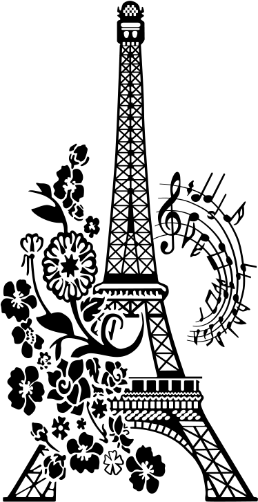Floral And Musical Eiffel Tower Wall Sticker. Wall Color